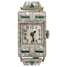 Fantastic Art Deco Filigree Diamond & Emerald Ladies Watch in Platinum