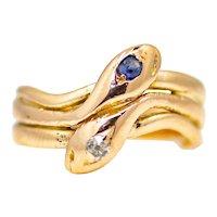 Sale! Victorian Sapphire & Diamond Snake Ring in 14K Rose Gold