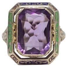Sale! Opulent Art Deco Enameled Amethyst Filigree Ring