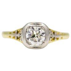 Sale! Art Nouveau Diamond Filigree Engagement Ring in 18K & Platinum