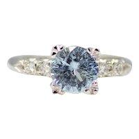 Vintage Paraiba Tourmaline & Diamond Ring in Platinum