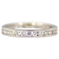 Sale! Contemporary Miligrain 1.00ct Diamond Wedding Band in 18K White Gold