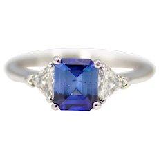 Ceylon Sapphire & Kite Shaped Diamond Three Stone Ring in Platinum