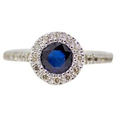 Sale! Classic Sapphire & Diamond Halo Engagement Ring in 14K White Gold