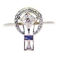 Art Deco Diamond & Sapphire Filigree Ring in 18K White Gold