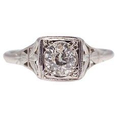 Sale! Platinum Edwardian 0.65ct Diamond Solitaire Engagement Ring
