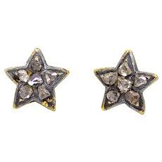 Sale! Cheerful Victorian Rose Cut Diamond Star Stud Earrings in Yellow Gold
