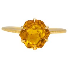 Victorian Hexagonal Citrine Filigree Solitaire Ring in 18K Yellow Gold