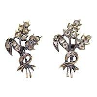 Sale! Victorian Wheat Stalk Rose Cut Diamond Earrings in 14K Yellow Gold