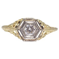 Floral Filigree Diamond Solitaire Engagement Ring