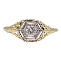 Sale! Floral Filigree Diamond Solitaire Engagement Ring