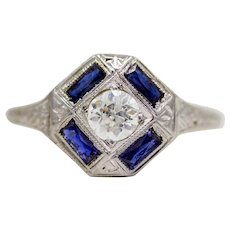 Art Deco Diamond & French Cut Sapphire Engagement Ring in 18K White Gold