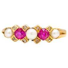 Sale! Victorian Burmese Ruby & Pearl Ring in 18 Karat Yellow Gold
