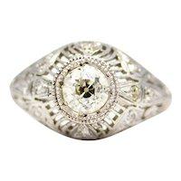 Edwardian 0.78ct Diamond Filigree Engagement Ring in Platinum