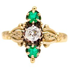 Sale! Victorian Diamond & Emerald Trilogy Ring in 14K Yellow Gold