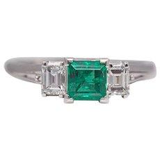 Sale! Art Deco Step Cut Emerald & Diamond Ring in Platinum