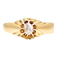 Sale! Victorian Rose Cut Diamond Russian Solitaire Engagement Ring