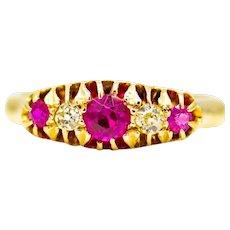 English Victorian Ruby & Mine Cut Diamond Band in 18K Yellow Gold
