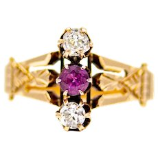 Sale! Victorian Mine Cut Diamond & Ruby Trilogy Ring in 14K Gold