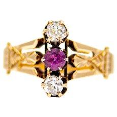 Victorian Mine Cut Diamond & Ruby Trilogy Ring in 14K Gold