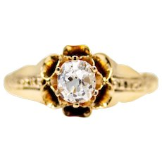 Sale! Victorian Buttercup Diamond Solitaire Engagement Ring in 14k Yellow Gold