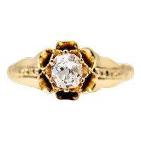 Victorian Buttercup Diamond Solitaire Engagement Ring in 14k Yellow Gold