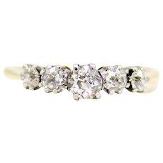 Sale! English Edwardian 5 Stone Diamond Band in Platinum, 18K Gold
