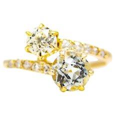 Sale! Victorian Aquamarine & Diamond Toi Et Moi Ring in 14K Yellow Gold