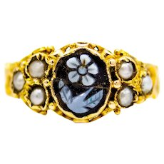 Victorian Floral English Micro Mosaic 15ct Yellow Gold Ring