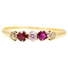 Victorian Five Stone Ruby & Mine Cut Diamond Band in 14k Yellow Gold