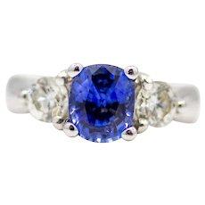 Exuding Quality Contemporary Ceylon Sapphire & Diamond Three Stone Ring