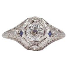 Art Deco Diamond & Sapphire Platinum Engagement Ring