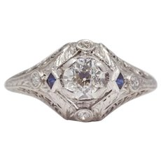 Sale! Art Deco Diamond & Sapphire Platinum Engagement Ring