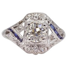 Sale! Art Deco 0.92ct Diamond & Sapphire Filigree Engagement Ring