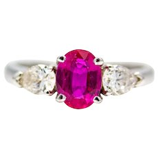 Exceptional Vivid Red Ruby & Pear Shaped Diamond Three Stone Ring in 18K White Gold