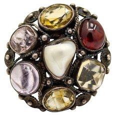 Arts & Crafts Period Organic Natural Pearl & Multi Stone Ring in Silver