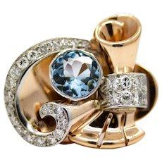 Exceptional Retro Aquamarine & Diamond Ring in Rose Gold, Platinum.
