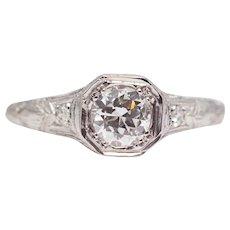 Art Deco 1920's Platinum Diamond Filigree Engagement Ring