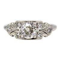 Art Deco 0.57ct Diamond Engagement Ring in Platinum