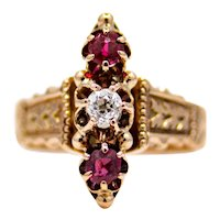 Victorian Old Mine Diamond and Ruby Trilogy Ring in Rose Gold
