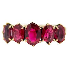 Victorian Ruby Red Garnet Five Stone Band in 14K Yellow Gold