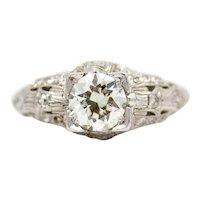 Art Deco 0.92ct Diamond Filigree Engagement Ring in Platinum