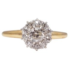 Edwardian Platinum & 14K Gold Diamond Halo Engagement Ring