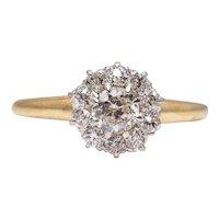 Sale! Edwardian Platinum & 14K Gold Diamond Halo Engagement Ring