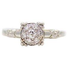 Art Deco Orange Blossom Illusion Cluster Engagement Ring in Platinum