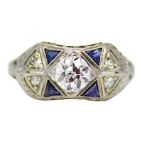 Art Deco 0.62ct Diamond & Sapphire Filigree Ring in 18K White Gold 1920's