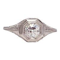 Sale! 1920's Art Deco 0.92ct Diamond Solitaire Engagement Ring in Platinum