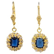 Victorian Cushion Sapphire & Old Mine Cut Diamond Dangle Earrings in Yellow Gold