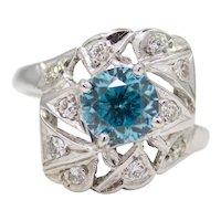 Art Deco 1920's Blue Zircon & Diamond Ring in Platinum