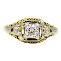 Art Nouveau Platinum & 18K Yellow Gold Diamond Engagement Ring